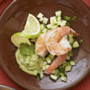 "<p>This is a great appetizer, salad or healthy lunch. Try serving individual portions in a martini glass for added flair. <a href=""http://www.eatingwell.com/recipe/265329/shrimp-and-cucumber-salad-with-creamy-avocado-dressing/"" rel=""nofollow noopener"" target=""_blank"" data-ylk=""slk:View recipe"" class=""link rapid-noclick-resp""> View recipe </a></p>"