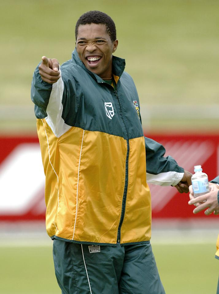 14 Jan 2002:  Makhaya Ntini enjoys a laugh, during South Africa Training at Bellerive Oval, Hobart, Australia. DIGITAL IMAGE. Mandatory Credit: Hamish Blair/Getty Images