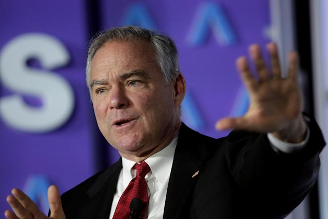 Senator Tim Kaine (D-Va.) speaks about health care reform in Washington in October 2017. (Reuters/Joshua Roberts)