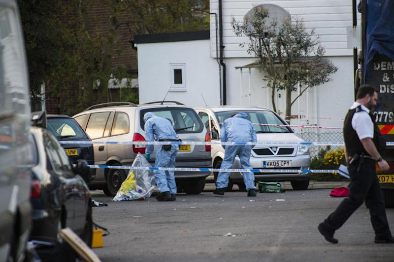 Police cordon: Forensic officers at the scene of a killing in Northolt (Lucy Young)