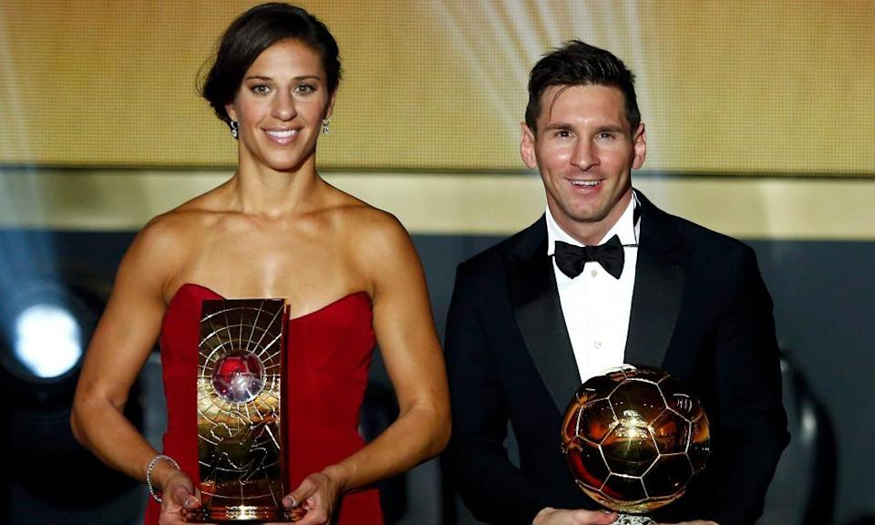 Carli Lloyd alongside Lionel Messi after being named women's player of the year at the 2015 Ballon d'Or ceremony