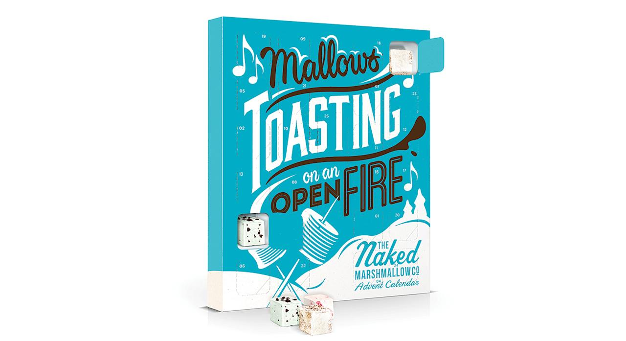 """<p>The Naked Marshmallow Co. advent calendar is back for another year. Each door reveals a festive flavoured marshmallow with an extra special surprise behind the Christmas Day door. For and additional £3.95, you can upgrade your advent calendar to include a marshmallow toaster and bamboo skewers for gooey marshmallows in seconds. Available from <a rel=""""nofollow"""" href=""""https://nakedmarshmallow.co.uk/product/marshmallow-advent-calendar/""""><em>Naked Marshmallow Co</em></a>. </p>"""