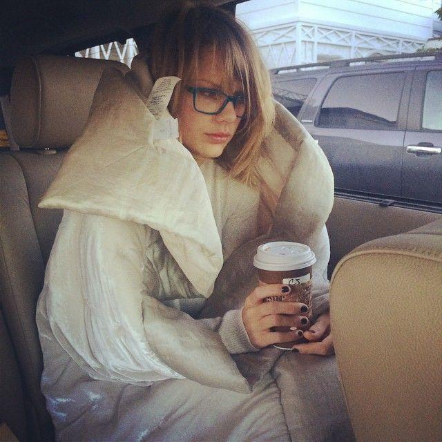 Taylor Swift is us on a Monday morning. Photo: Instagram/Taylor Swift