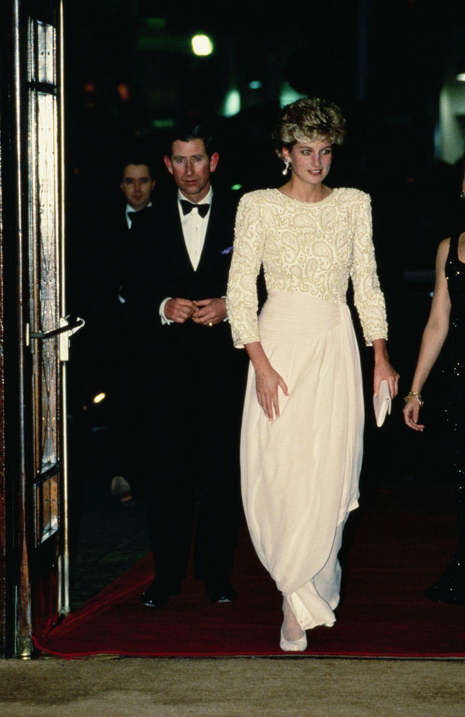 <p>In a Catherine Walker dress at the Dominion Theatre in London. </p>