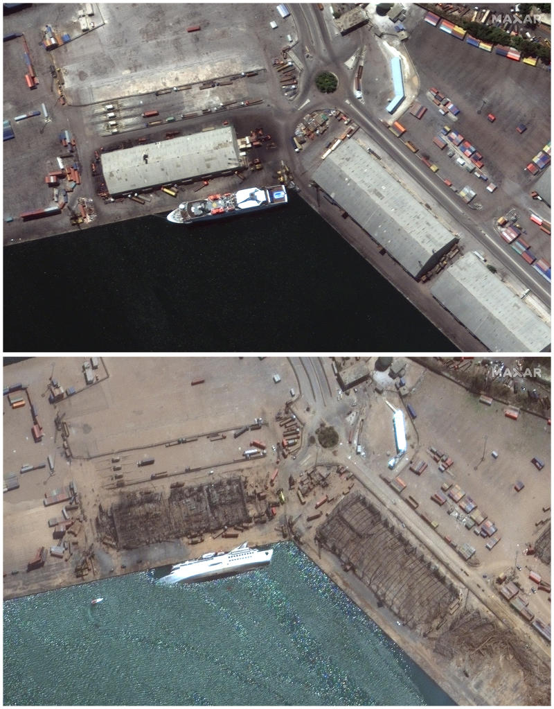 This combination of satellite images provided by Maxar Technologies shows the port of Beirut in Lebanon, top, on July 31, 2020, and the same area on Wednesday, August 5. Source: AP