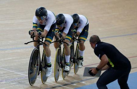 Cycling - UCI Track World Championships - Men's Team Pursuit Final - Hong Kong, China - 13/4/17 - Team Australia in action. REUTERS/Bobby Yip