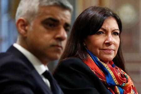 London Mayor Sadiq Khan and Paris Mayor Anne Hidalgo attend a meeting on air pollution in Paris