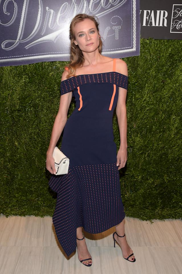 <p>Dressed in a structured Jason Wu dress, Diane showed off her flair for fashion at Variety's annual party.<i> [Photo: Getty]</i></p>