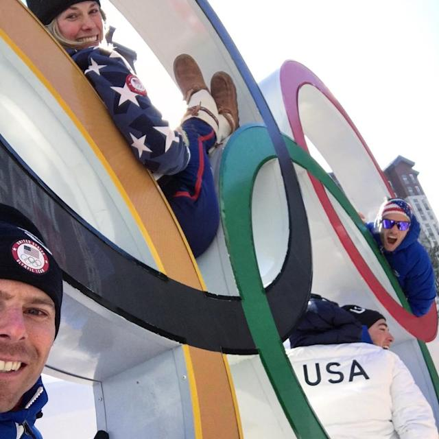 <p>andynewellskier: The Olympic spirit is doing your best no matter what the outcome. Happy to looking up and to be here with this team in the Red, white, and blue #teamusa #olympics (Photo via Instagram/andynewellskier) </p>