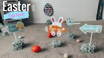 """<p>For little ones who might not be able to search all the nooks and crannies by themselves, an indoor """"bunny trail"""" can help keep them on track. Use fun signs to leave some not-so-subtle hints.</p><p><em><a href=""""https://www.youtube.com/watch?app=desktop&v=u5HYLCR5av0"""" rel=""""nofollow noopener"""" target=""""_blank"""" data-ylk=""""slk:Get the tutorial at Waleska Rodger »"""" class=""""link rapid-noclick-resp"""">Get the tutorial at Waleska Rodger »</a></em></p>"""