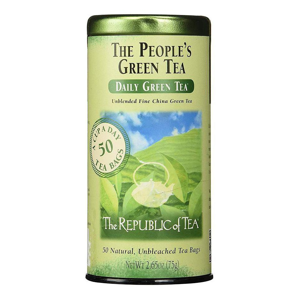 """<p><strong>The Republic of Tea</strong></p><p>amazon.com</p><p><strong>11.99</strong></p><p><a href=""""http://www.amazon.com/dp/B0024SJ2LE/?tag=syn-yahoo-20&ascsubtag=%5Bartid%7C2089.g.2205%5Bsrc%7Cyahoo-us"""" rel=""""nofollow noopener"""" target=""""_blank"""" data-ylk=""""slk:Shop Now"""" class=""""link rapid-noclick-resp"""">Shop Now</a></p><p>Made with green tea leaves verified by the Non-GMO Project, and packaged in natural, unbleached satchels, this People's Green Tea from The Republic of Tea is a sustainable and delicious option.</p><p>Milder in taste than some other options on this list, we'd recommend this green tea for beginners or for those who love to add ingredients like a squeeze of lemon to tea.</p>"""