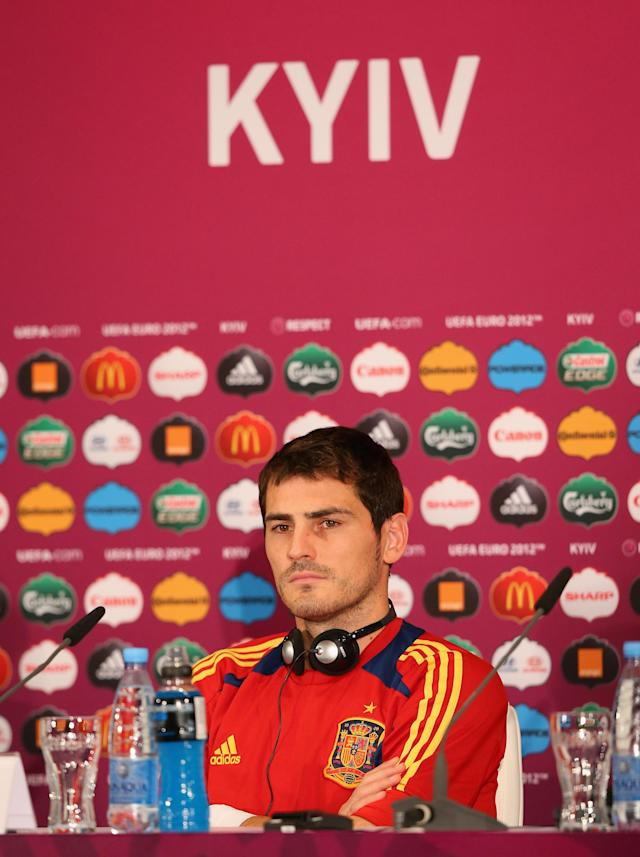KIEV, UKRAINE - JUNE 30: In this handout image provided by UEFA, Iker Casillas of Spain talks to the media during a press conference ahead of the UEFA EURO 2012 final against Italy at the Olympic Stadium on June 30, 2012 in Kiev, Ukraine. (Photo by Handout/UEFA via Getty Images)
