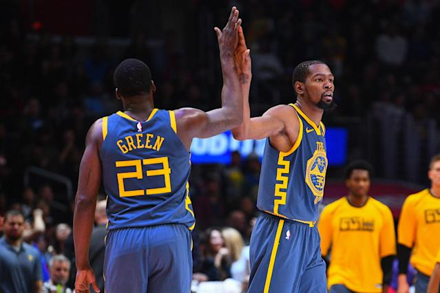 "Bob Myers says he believes <a class=""link rapid-noclick-resp"" href=""/nba/players/4244/"" data-ylk=""slk:Kevin Durant"">Kevin Durant</a> and <a class=""link rapid-noclick-resp"" href=""/nba/players/5069/"" data-ylk=""slk:Draymond Green"">Draymond Green</a> are cool. But are they really? (Getty)"