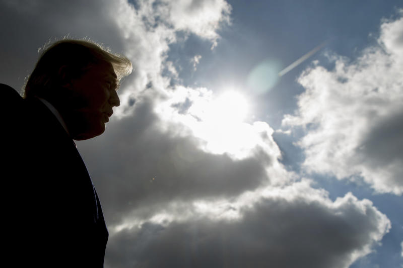 FILE - In this Oct. 27, 2018 file photo, President Donald Trump speaks to reporters in Indianapolis. An AP-NORC Center poll released on Thursday, Sept. 12, 2019, finds Americans are most unhappy with Trump on his handling of climate change. (AP Photo/Andrew Harnik)
