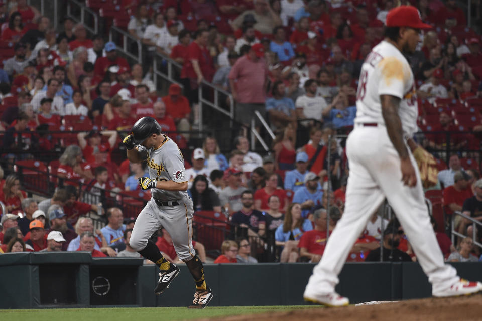 Pittsburgh Pirates' Bryan Reynolds rounds the bases after hitting a home run during the fourth inning of a baseball game against the St. Louis Cardinals Thursday, June 24, 2021, in St. Louis. (AP Photo/Joe Puetz)