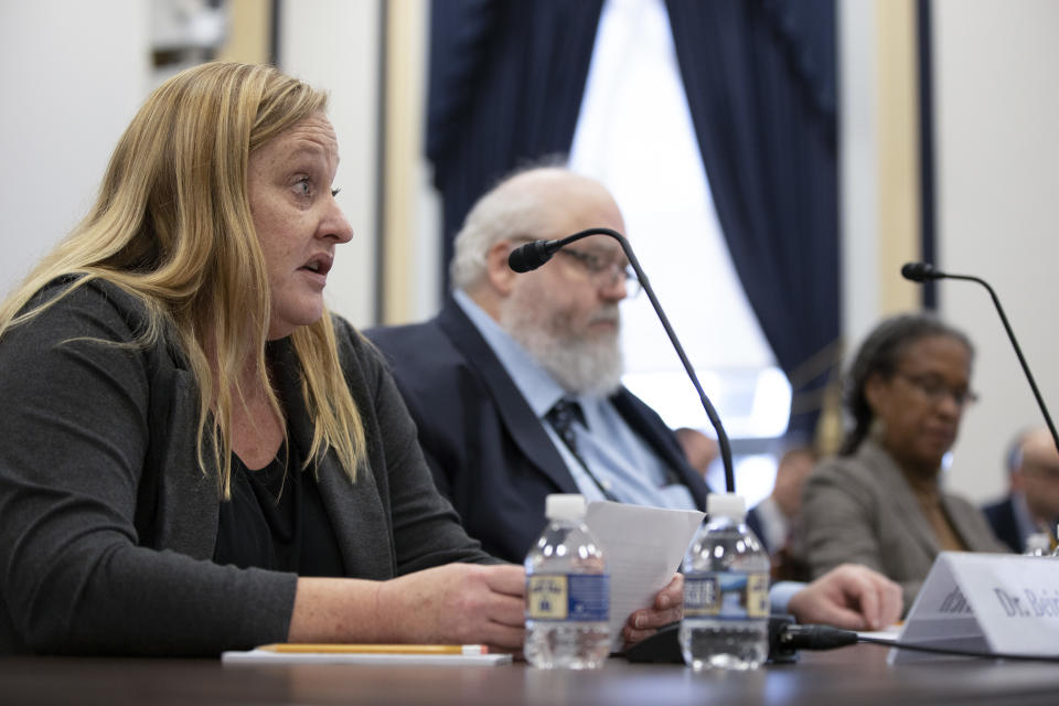 Heidi Beirich, co-founder and chief strategy officer for the Global Project Against Hate and Extremism, Mark Pitcavage, senior research fellow in the Anti-Defamation League's Center on Extremism and Lecia Brooks, chief workplace transformation officer at the Southern Poverty Law Centerspeaks during the House Armed Services Committee Holds Hearing On White Supremacy Incidents In Military on February 11, 2020 in Washington, DC. (Tasos Katopodis/Getty Images)