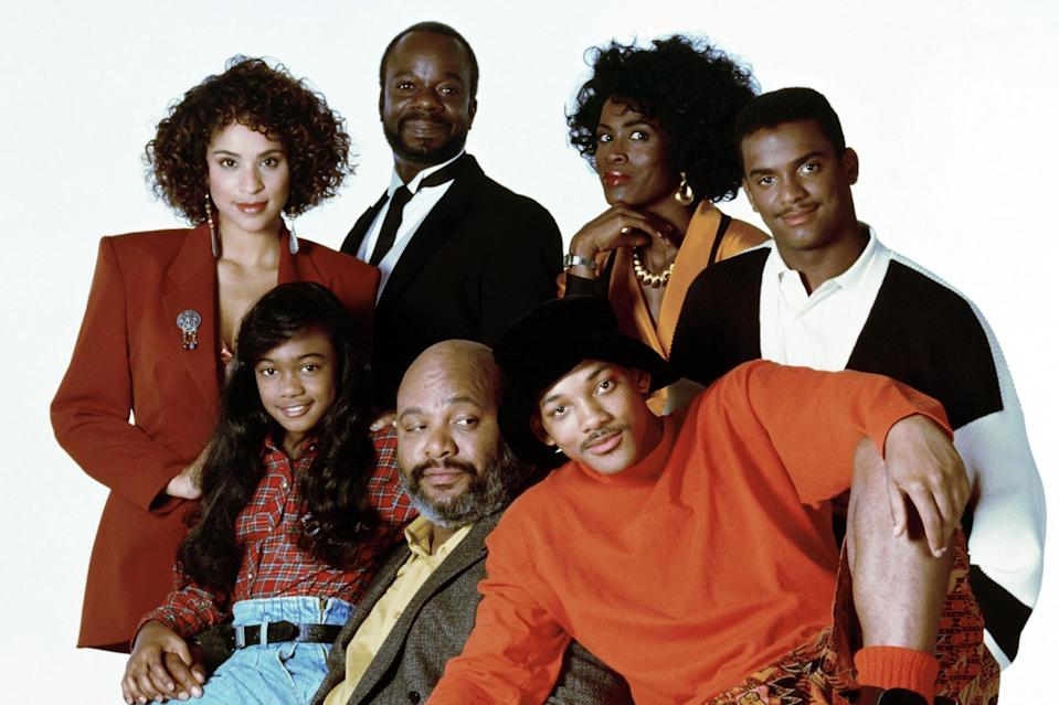 Karyn Parsons, Joseph Marcell, Janet Hubert, Alfonso Ribeiro, Tatyana Ali, James Avery, and Will Smith in a promo shot for 'The Fresh Prince of Bel-Air'. (Photo by Nbc/Stuffed Dog/Quincy Jones Ent/Kobal/REX)