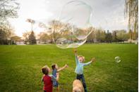 """<p>If he loves bubbles in the tub, you know he'll love a bubble-palooza with all his friends. Give the kids different shaped wands to make bubbles in different sizes. You can even get a <a href=""""https://www.amazon.com/Standard-Machine-included-Production-Foamdaddy/dp/B00HUX480S?tag=syn-yahoo-20&ascsubtag=%5Bartid%7C10070.g.32946619%5Bsrc%7Cyahoo-us"""" rel=""""nofollow noopener"""" target=""""_blank"""" data-ylk=""""slk:foam machine"""" class=""""link rapid-noclick-resp"""">foam machine</a> to make a foamy, bubbly surprise!</p>"""