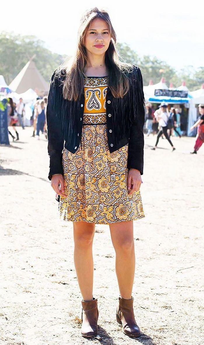 Give your look a boho feel by wearing a floral dress with a fringed suede jacket and ankle boots.