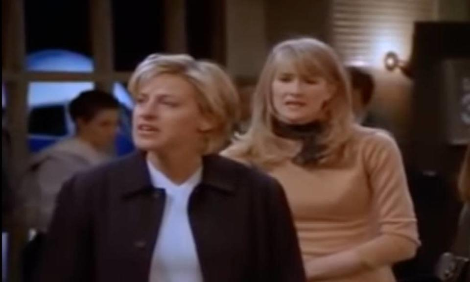A still from the sitcom Ellen in which the main character comes out publicly to her love interest