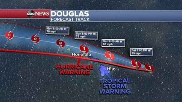 PHOTO: Hurricane Douglas is expected to bring heavy rain and rough surf to the Hawaiian Islands over the next two days. (ABC News)
