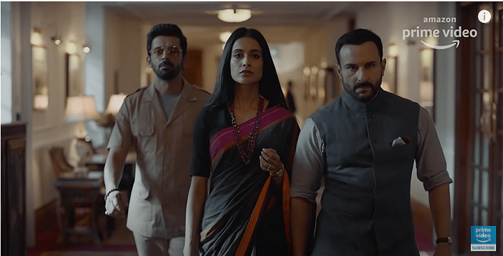 Mohammed Zeeshan Ayyub, Sarah-Jane Dias, and Saif Ali Khan in the trailer for <i>Tandav.</i>