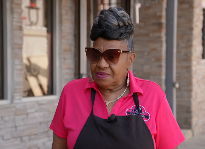 Image: Corinne Bradley-Powers, owner of Corinne's Place, a well-known soul food restaurant in Camden. (NBC News)