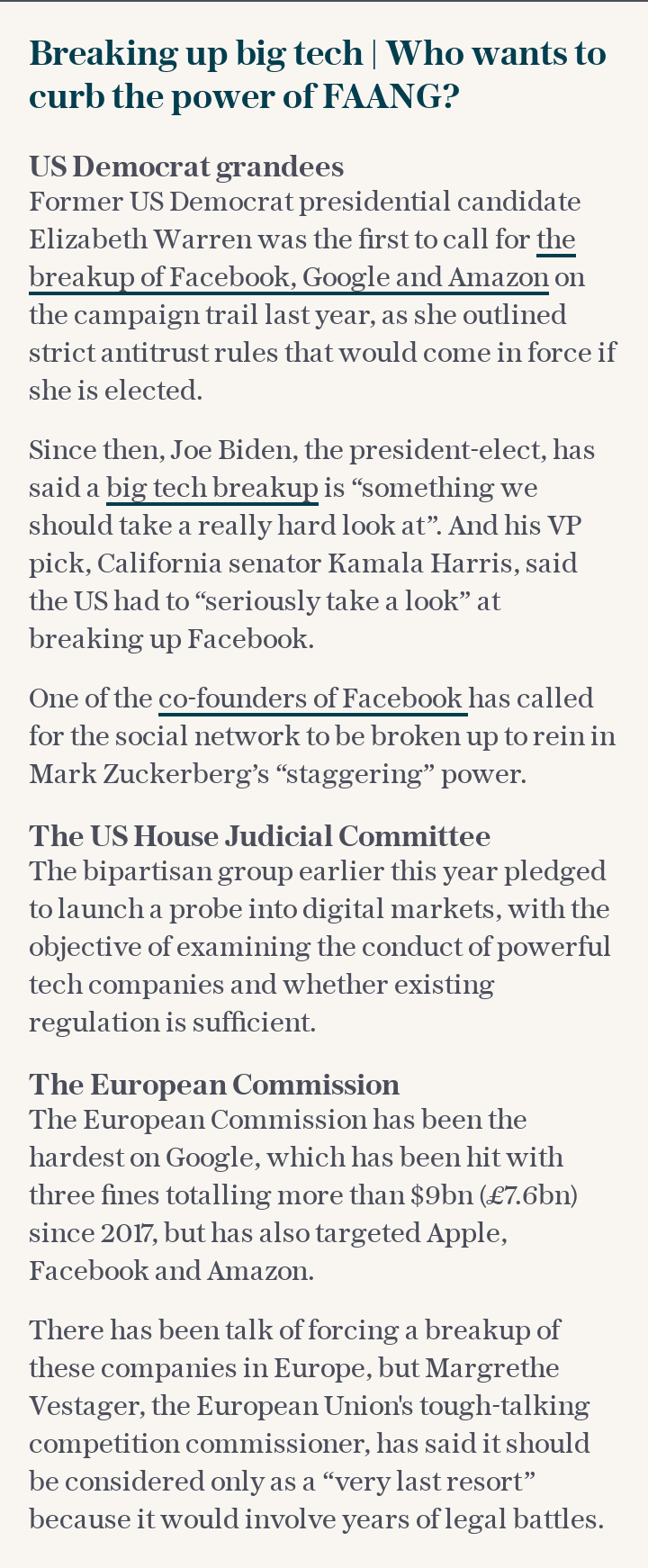 Breaking up big tech | Who wants to curb the power of FAANG?