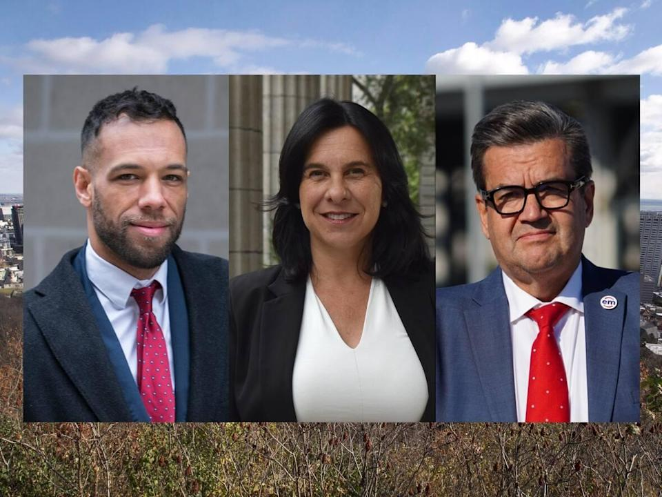 Left to right: Balarama Holness, Valérie Plante, Denis Coderre. (Paul Chiasson/The Canadian Press, Holly Cabrera/CBC, Charles Contant/CBC - image credit)