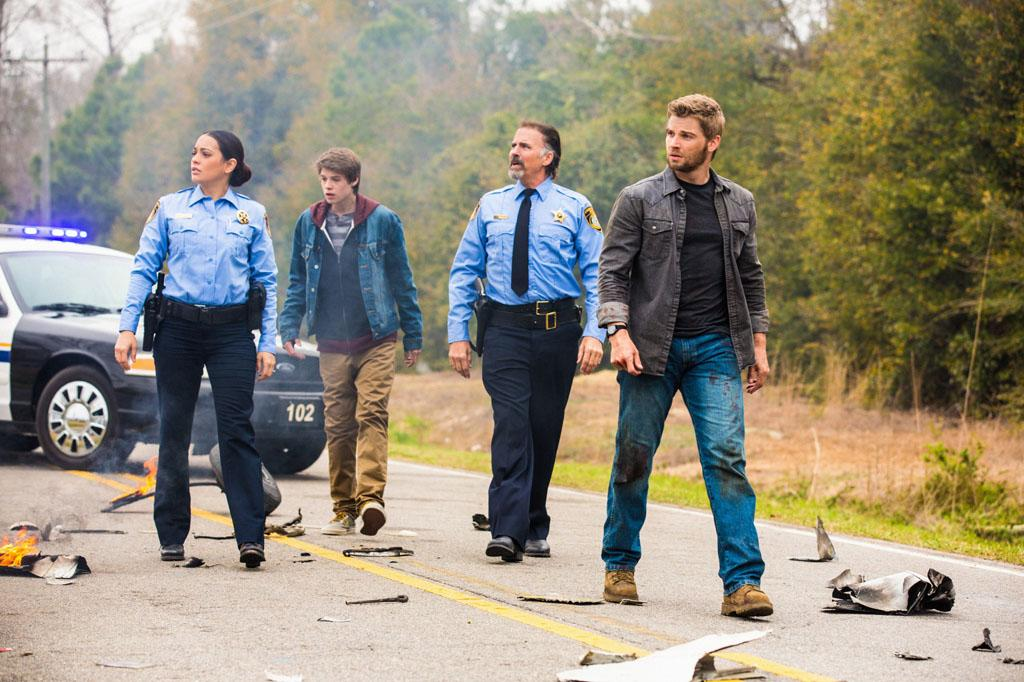 """Pilot"" - Deputy Linda (Natalie Martinez, left), Joe (Colin Ford), Sheriff Perkins (Jeff Fahey) and Dale ""Barbie"" Barbara (Mike Vogel) and the residents of Chester's Mill find themselves suddenly and inexplicably sealed off from the rest of the world by a massive transparent dome, on ""Under the Dome."""