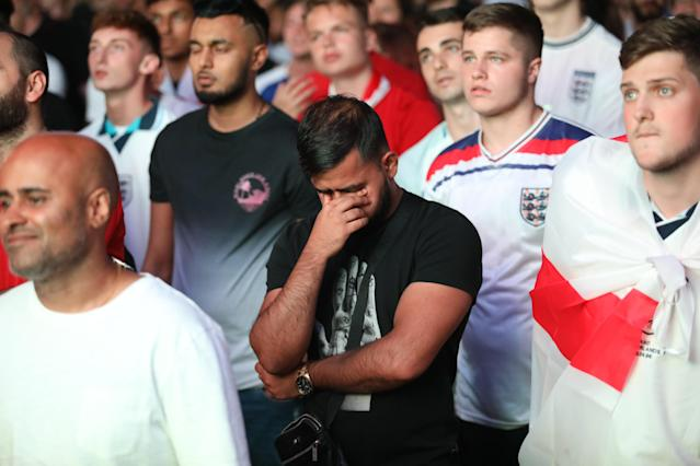 <p>Thousand who filled fan parks and bars nationwide were left disappointed by the semi-final defeat. (SWNS) </p>