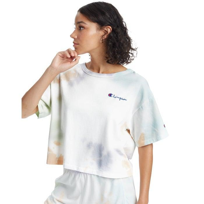 """<p>This <a href=""""https://www.popsugar.com/buy/Champion-Heritage-Cropped-Tee-569682?p_name=Champion%20Heritage%20Cropped%20Tee&retailer=champion.com&pid=569682&price=35&evar1=fab%3Aus&evar9=47433715&evar98=https%3A%2F%2Fwww.popsugar.com%2Fphoto-gallery%2F47433715%2Fimage%2F47433851%2FChampion-Heritage-Cropped-Tee&list1=shopping%2Ct-shirts%2Ctops%2Cfashion%20shopping&prop13=api&pdata=1"""" class=""""link rapid-noclick-resp"""" rel=""""nofollow noopener"""" target=""""_blank"""" data-ylk=""""slk:Champion Heritage Cropped Tee"""">Champion Heritage Cropped Tee</a> ($35) is very on trend right now.</p>"""