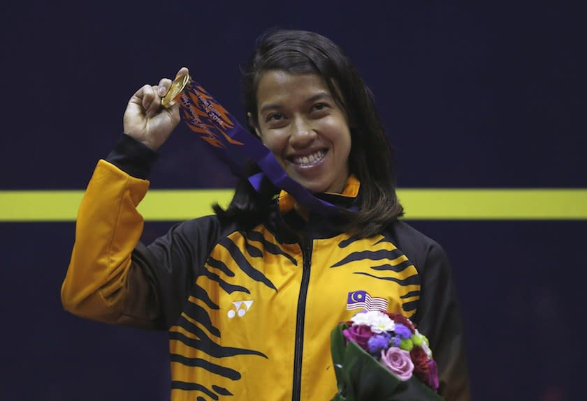 Gold medalist Nicol David of Malaysia holds her medal during an award ceremony for the women's singles squash match during the 17th Asian Games in Incheon in this file picture taken on September 23, 2014. — Reuters pic