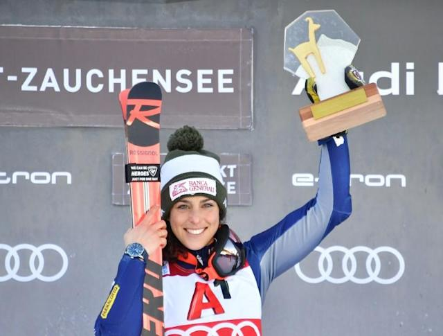 Federica Brignone won the combined event on Sunday after a crash strewn first run (AFP Photo/JOE KLAMAR)