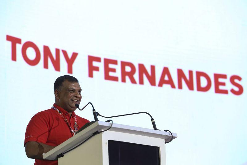 AirAsia Group CEO Tan Sri Tony Fernandes delivers a speech at the launch of the company's new headquarters in Sepang March 1, 2018. ― Picture by Yusof Mat Isa