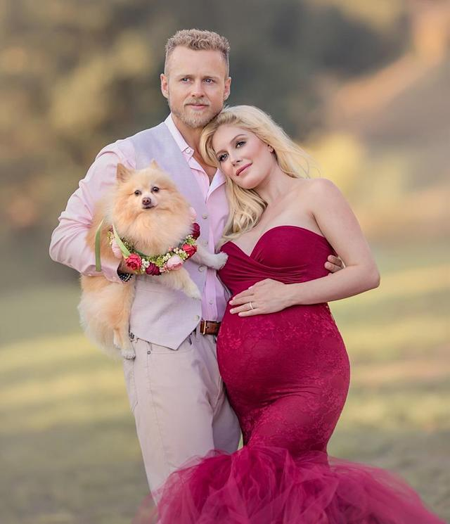 "<p>""Subtle"" is not in Speidi's vocabulary. <em>The Hills</em> stars shot quite an extravagant family portrait with their pooch in tow. Was ""Valentine's Day Wedding"" their theme? We can't wait for baby's first photo shoot. (Photo: Oxana Alex Photography) </p>"