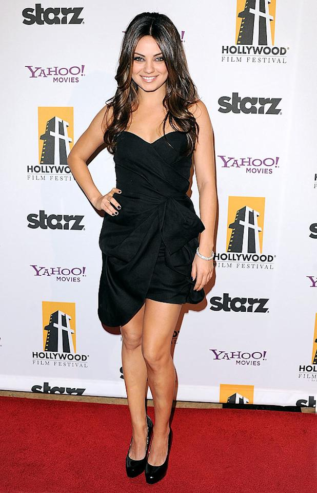"At the same party, ""Black Swan"" actress Mila Kunis kept things short and sweet in an asymmetrical Monique Lhuillier LBD. Jon Kopaloff/<a href=""http://www.filmmagic.com/"" target=""new"">FilmMagic.com</a> - October 25, 2010"