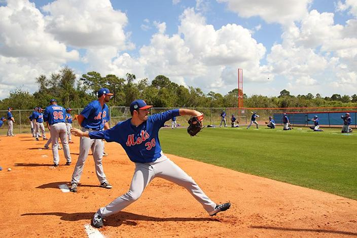 <p>New York Mets pitching prospects take turns during a bullpen session at the Mets spring training facility at First Data Field in Port St. Lucie, Fla., Thursday, March 2, 2017. (Gordon Donovan/Yahoo Sports) </p>