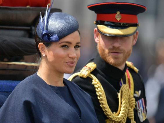 Meghan Markle and Prince Harry pictured during the Trooping of the Colour to mark the Queen's birthday, 8 June, 2019. (Daniel Leal-Olivas/AFP/Getty)