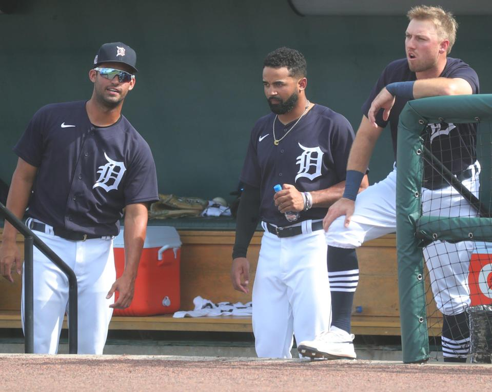 Detroit Tigers' Riley Greene, left, Derek Hill, center, and Kody Clemens in the dugout during Grapefruit League action against the Philadelphia Phillies on Sunday, Feb. 28, 2021, at Publix Field at Joker Marchant Stadium in Lakeland, Florida.