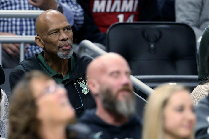 NBA Hall of Famer Kareem Abdul-Jabbar looks on during the game between the Miami Heat and Milwaukee Bucks at the Fiserv Forum on October 26, 2019 in Milwaukee, Wisconsin. (Photo by Dylan Buell/Getty Images)