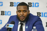 Ohio State offensive linemen Thayer Munford talks to reporters during an NCAA college football news conference at the Big Ten Conference media days, at Lucas Oil Stadium in Indianapolis, Friday, July 23, 2021. (AP Photo/Michael Conroy)