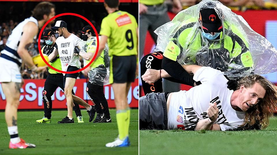 Pictured here, the two AFL grand final pitch invaders are wrapped up by security.