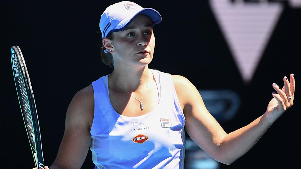 Ash Barty was knocked out of the Australian Open after a stunning collapse from a set up against Karolina Muchova in the quarter finals. (Photo by WILLIAM WEST/AFP via Getty Images)