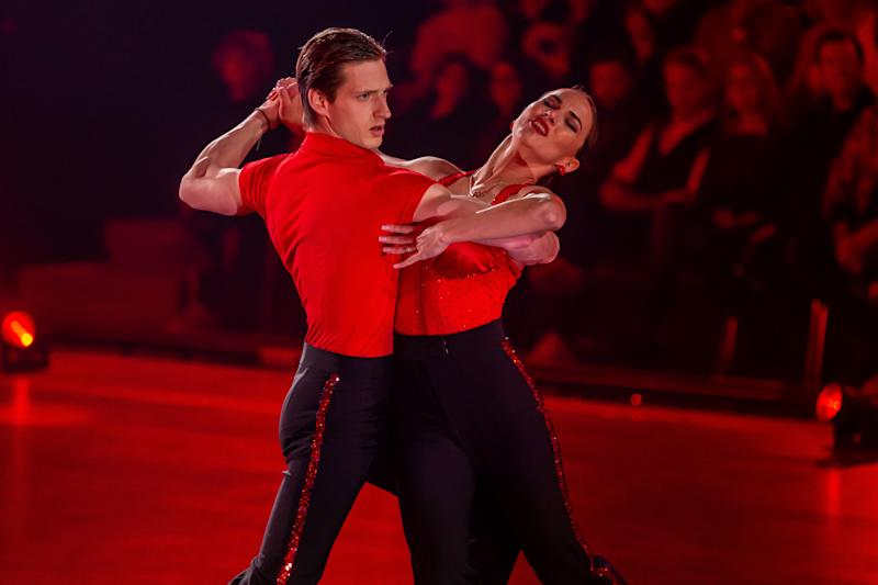 """COLOGNE, GERMANY - MARCH 06: (BILD ZEITUNG OUT) Renata Lusin and Moritz Hans looks on during the 2nd show of the 13th season of the television competition """"Let's Dance"""" on March 6, 2020 in Cologne, Germany. (Photo by Mario Hommes/DeFodi Images via Getty Images)"""
