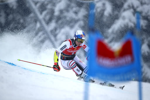 France's Alexis Pinturault competes during the first run of an alpine ski, World Cup men's giant slalom in Santa Caterina Valfurva, Italy, Saturday, Dec. 5, 2020. (AP Photo/Gabriele Facciotti)