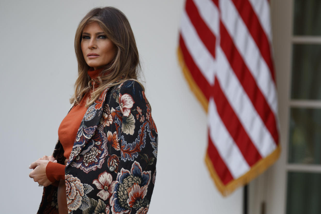First lady Melania Trump listens as President Trump speaks in the Rose Garden of the White House. (Photo: Evan Vucci/AP)
