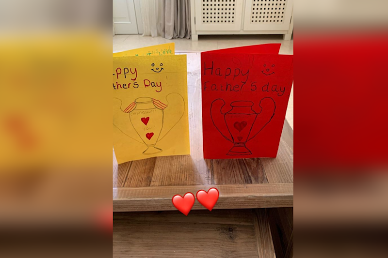 Jordan Henderson shared this sweet picture of his daughters' hand drawn Father's Day cards. (Instagram / Jordan Henderson) (Instagram / Jordan Henderson)