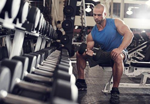 "<span class=""caption"">Testosterone levels can be affected by range of causes.</span> <span class=""attribution""><a class=""link rapid-noclick-resp"" href=""https://www.shutterstock.com/image-photo/bodybuilder-working-out-bumbbells-weights-gym-374999587"" rel=""nofollow noopener"" target=""_blank"" data-ylk=""slk:ESB Basic/Shutterstock"">ESB Basic/Shutterstock</a></span>"