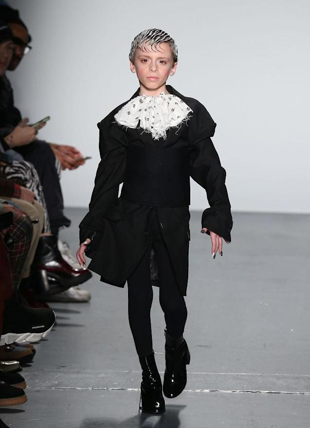 <p>Desmond Napoles walks in his first major fashion show for Gypsy Sport. (Photo: Getty) </p>